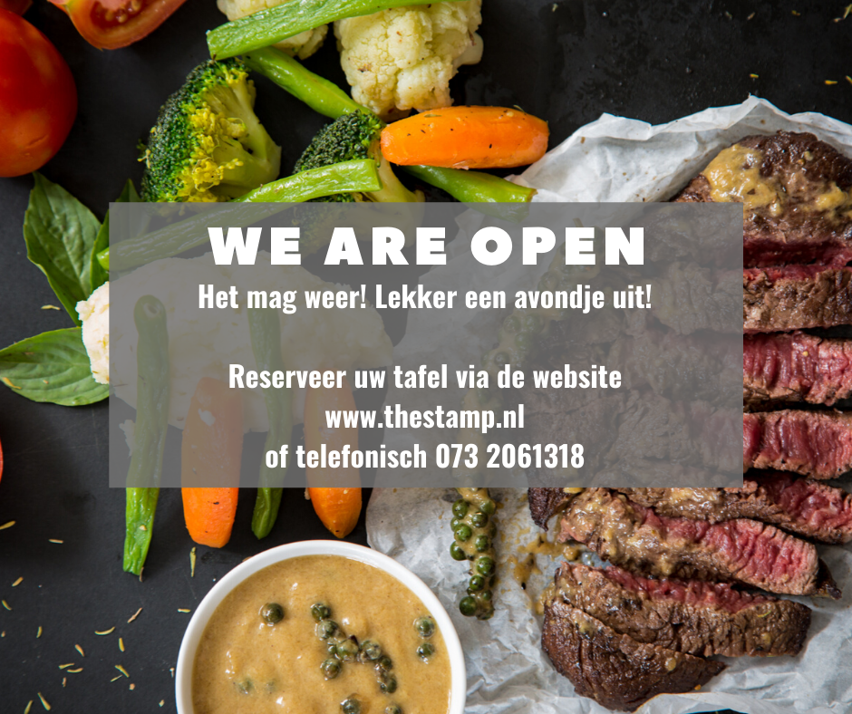 We are open promo Restaurant the stamp